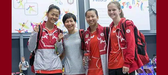 left to right: Mo Zhang, Coach Junya Chen, Anqi Luo & Alicia Cote Photo by Thorsten Gohl