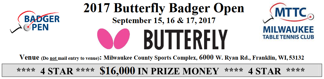 2017 Butterfly Badger Open: $16,000 in prize money