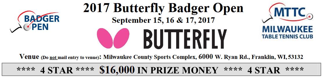 2017 Butterfly Badger Open: $16,000 in prize money