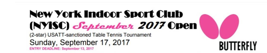 Come join NYISC September 2017 Tournament Sunday Sept 20th 2017