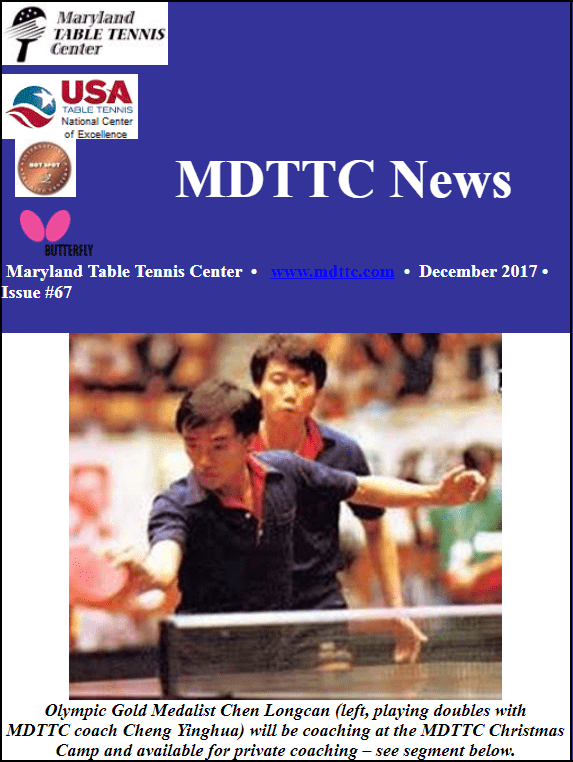 Olympic Gold Medalist Chen Longcan Visiting MDTTC & other news