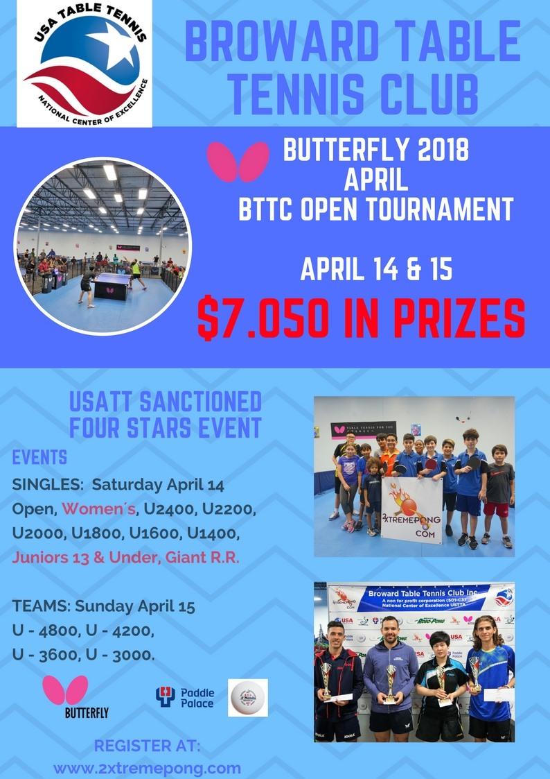Butterfly 2018 April BTTC Open Tournament