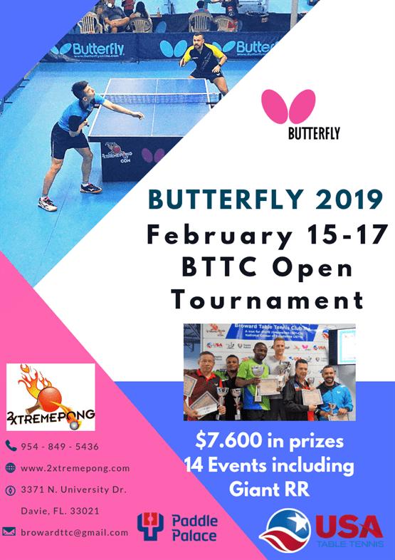 Butterfly 2019 February BTTC Open Tournament