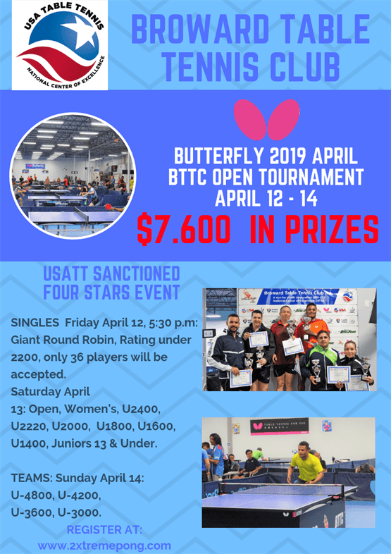 Butterfly 2019 April BTTC Open Tournament